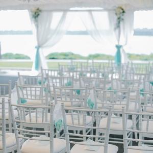 White tented wedding ceremony