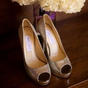 Peep toe bridal shoes
