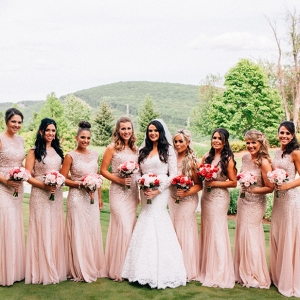 Sparkly pink bridesmaid dresses
