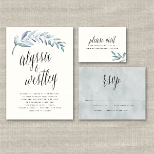 Organic Watercolor Wedding Invitation Suite