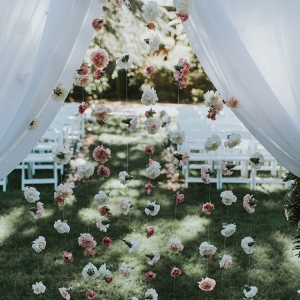 hanging flower wedding backdrop