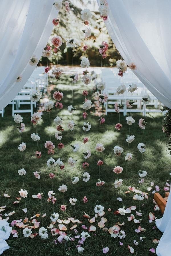 hanging flower wedding backdrop