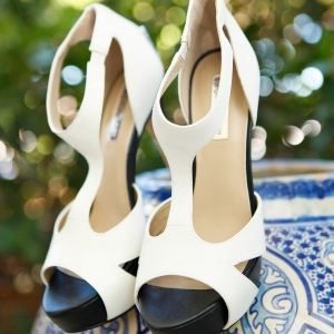 Chic black and white bridal shoes
