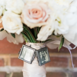 Bouquet charms with heirloom black and white photos