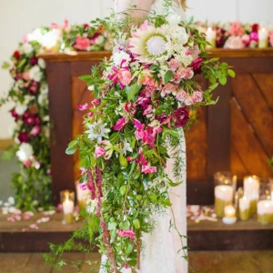 Large Trailing Pink & Green Bouquet