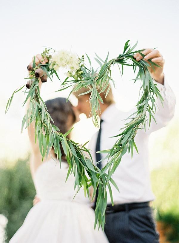 Newylweds With Gum Leaf Heart