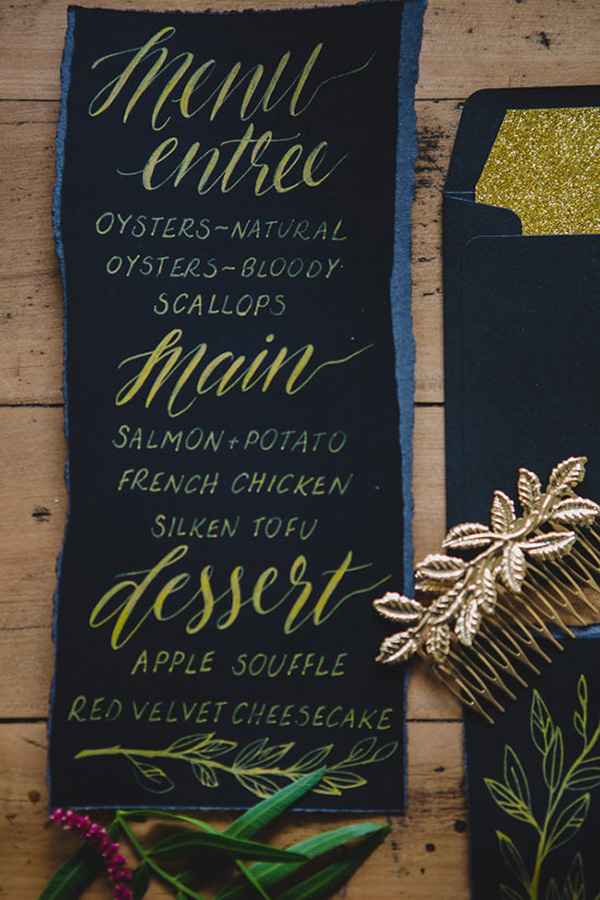 Black And Gold Stationery