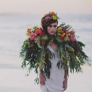 Bride With Floral Cape