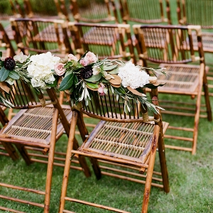 Bambo Chairs With White Hydrangeas