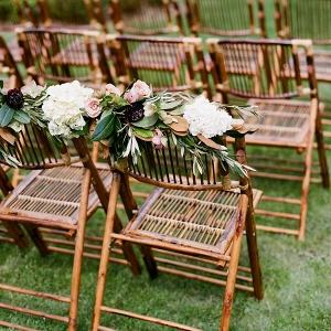 Bambo Chairs With White Hydrangeas
