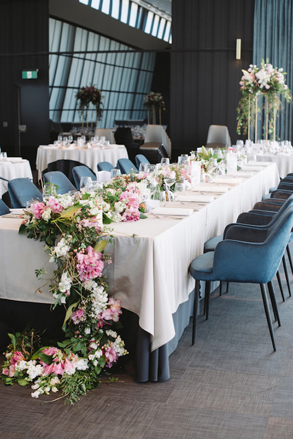 Floral Table Garland At Reception
