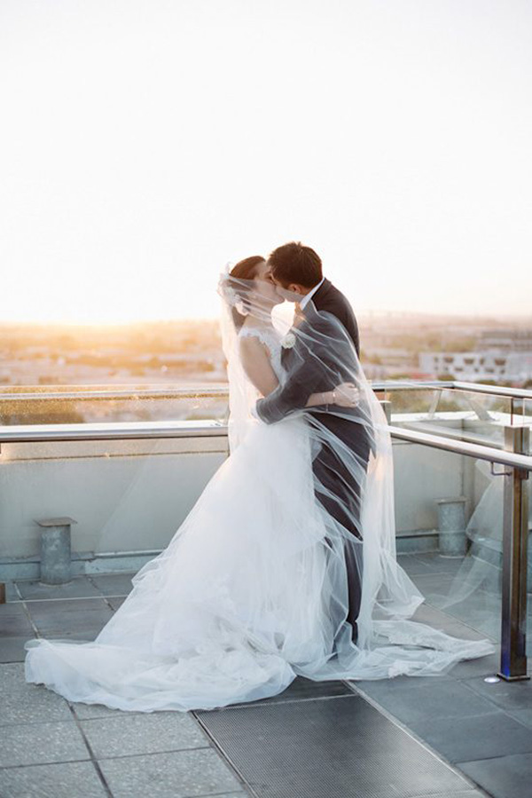 Romantic Sunset Rooftop Wedding Portrait