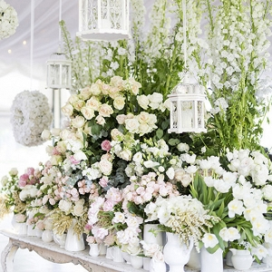 Deacdent Floral Display At Wedding Reception