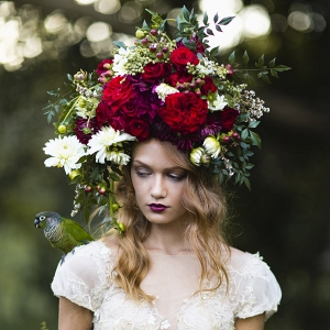 Bold Floral Hairpiece Of Red & White