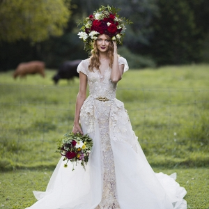 Bride With Bold Flower Hairpiece