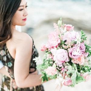 Dreamy Bouquet At Beach Engagement Shoot