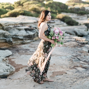 Bride During Beach Engagement Session