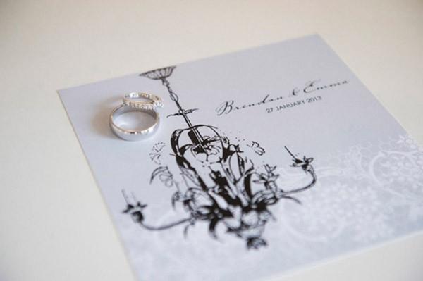 Grey Wedding Invitation With Black Chandelier