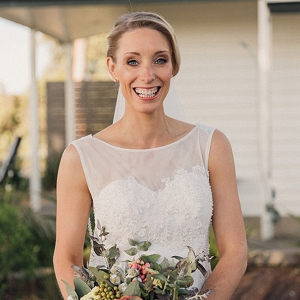 Bride With Illusion Lace Dress