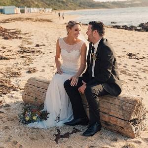 Newlyweds On Australian Beach