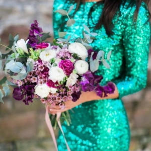 Emerald Green Sequin Gown With Magenta Bouquet