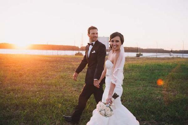 Newlyweds At Sunset