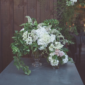 Wedding Arrangement With White Hydrangeas