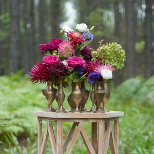 Brass Vases With Jewel Toned Flowers