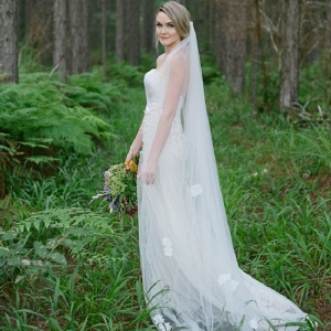 Bride In Forest With Embellished Veil