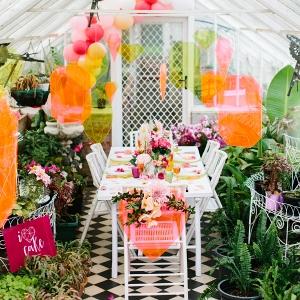 Neon Wedding In Greenhouse