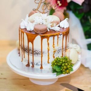 Caramel Drip Wedding Cake