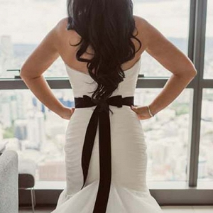 Wedding Dress With Black Bow