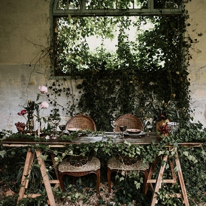 Greenery Garland On Sweetheart Table
