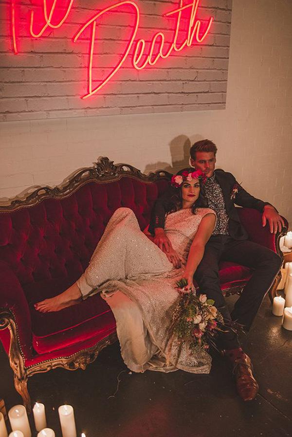 Red Velvet Couch Wedding Portrait