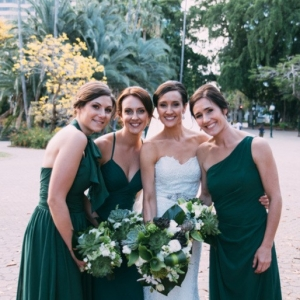Bride and Bridesmaids In Emerald Green