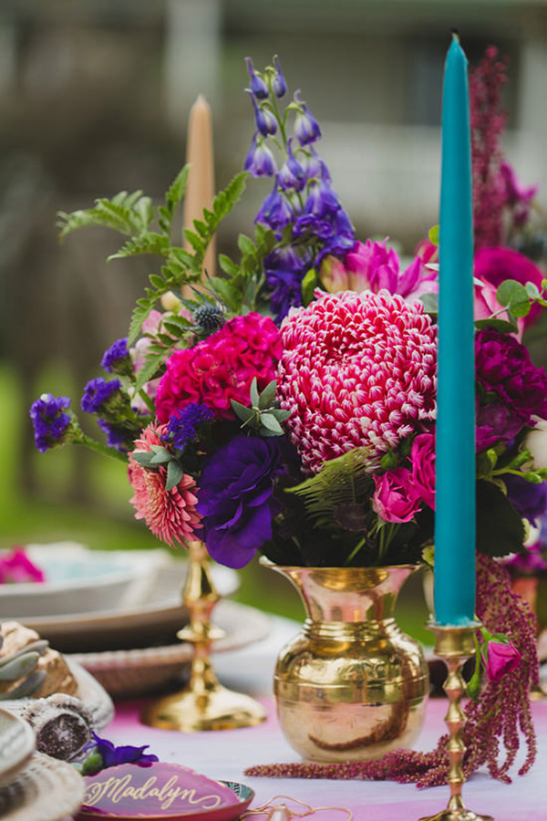 Bright Flowers In Brass Vases
