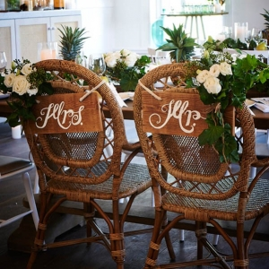 Cane Chairs With Wedding Signs
