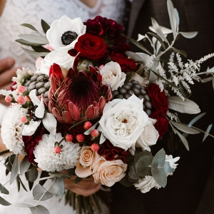 Peach & Red Bouquet With Natives