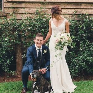 Newlyweds With Dog Ring Bearer
