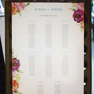 Floral Printed Seating Chart