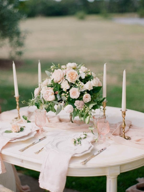 Blush Wedding Table Centerpieces