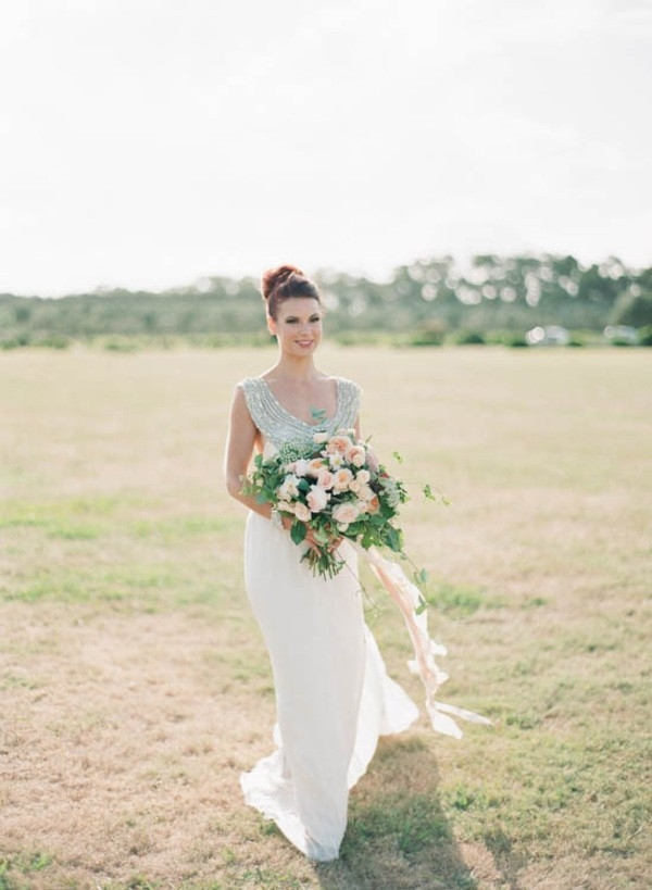 Bride WIth Peach Bouquet