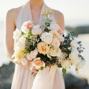 Bouquet of Peach Pink & Cream Roses