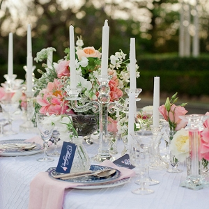 Vintage Tablescape With Glass Candlelabras