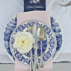 Vintage China Blue Place Setting