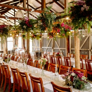 Reception Venue With Hanging Ferns