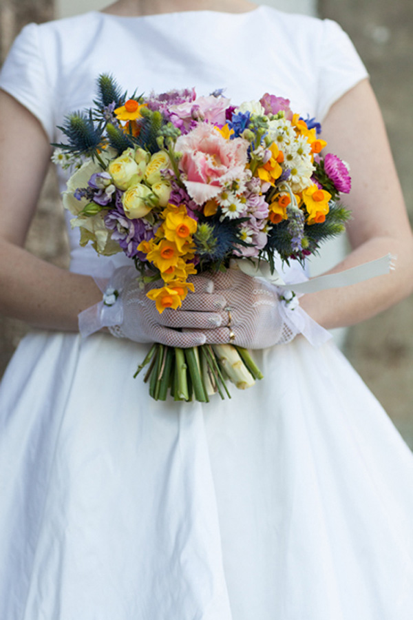 Colorful Vintage Inspired Wedding Bouquet