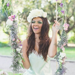 Bridesmaid On Floral Swing