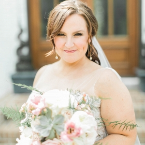 plus size bride, pinks, peaches, greens, watters wedding gown