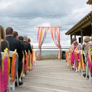 Colorful handmade wedding at Camp Blodgett!